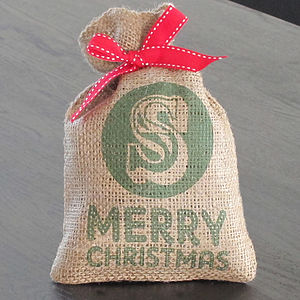 Personalised Initial Mini Christmas Sack - storage
