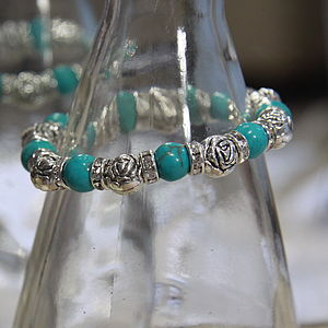 Turquoise Rose And Gem Friendship Bracelet