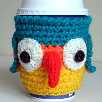 Crochet Maddie Macaw Cup Holder