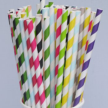 Striped Paper Straws - Pack Of 25
