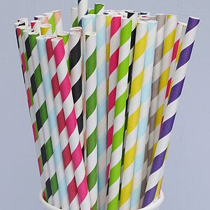 Striped Paper Straws - Pack Of 25 - table decorations