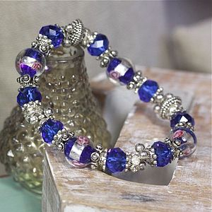 Sapphire Blue And Silver Beaded Bracelet - bracelets & bangles