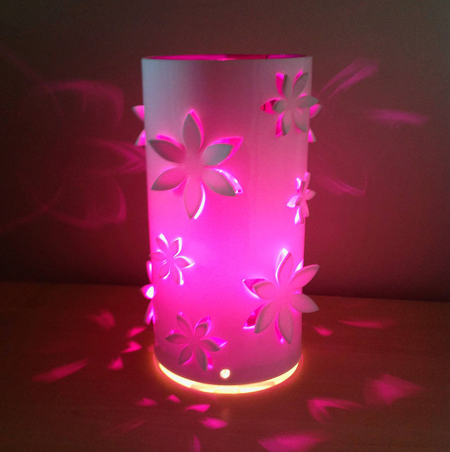 Awesome White With Purple Insert Flower Table Lamp