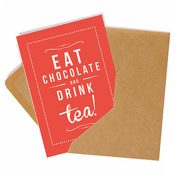 'Chocolate & Tea' Retro Style Greeting Card