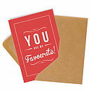 'My Favourite' Retro Style Greeting Card