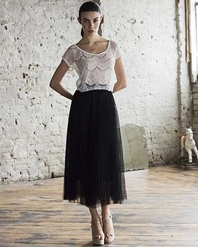 Pleated Tulle Netted Skirt