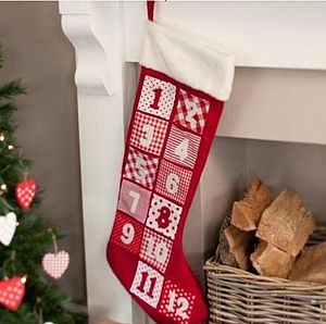 Red & White Advent Calendar Stocking - advent calendars & countdowns