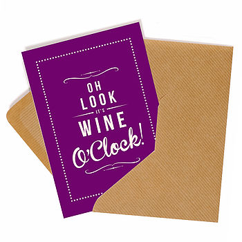 'Wine O'Clock' Retro Greeting Card