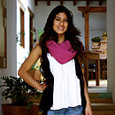 Lady Wearing Pink On Scarf