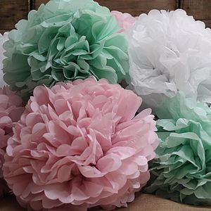 Pastel Coloured Paper Pom Pom - flowers & plants