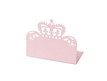 Crown place card in powder pink