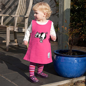 Baby's Toasty Dress with Cow. Shown here with Monkey + bob Long Sleeve Tee and Spangle Stripey Tights.