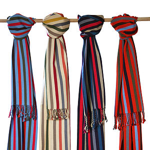 Handwoven Cotton Striped Chamelal Scarf - hats, scarves & gloves