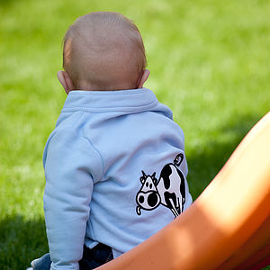 Baby's Toasty Top With Cow - children's jumpers