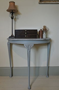 Vintage Distressed Demi Lune Table