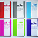 Annual 2013 Action Diary - L-R: Red, grey, blue, pink, green, purple