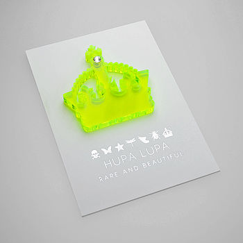 Fluro Green Acrylic Crown Magnetic Icon Decoration with a Clear Crystal