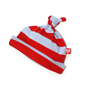 Red And Blue Striped Baby Pixie Hat