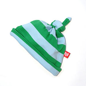 Green/Sky Striped Baby Hat - babies' hats