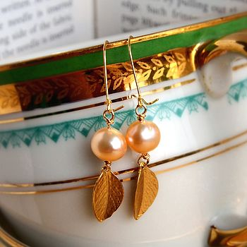 Leaf And Pearl Earrings