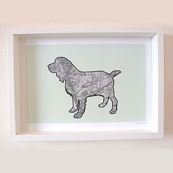 Spaniel Print With Personalised Map Location