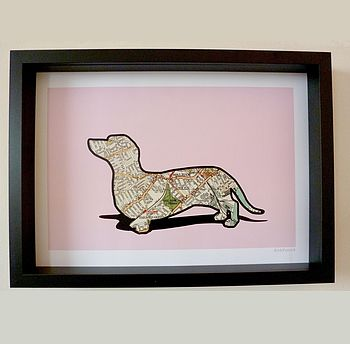 Dachshund Print Personalised Map Location