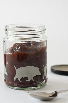 Wild Boar Silhouete Glass Jar
