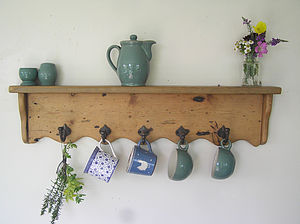 Reclaimed Wood Farmhouse Shelf With Cast Iron Hooks - kitchen