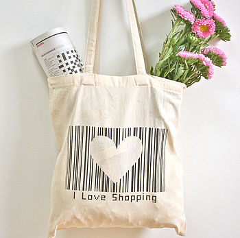 i love shopping tote bag