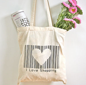'I Love Shopping' Barcode Tote Bag - bags, purses & wallets