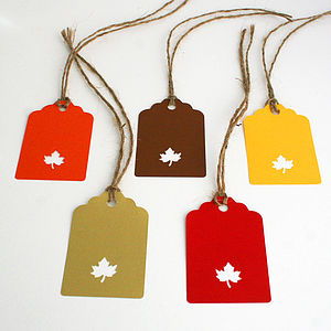 Hand Punched Autumn Leaf Gift Tags