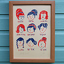 Retro Ladies Hairstyles Screen Print