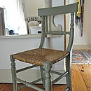 Antique Rail Back Rush Seated Chair
