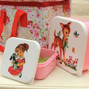 Set Of Two Pink Bambi Retro Lunch Boxes - lunch boxes & bags