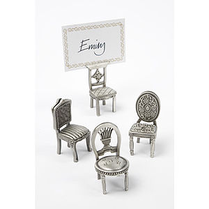 Set Of Four Pewter Chair Place Card Holders - place card holders