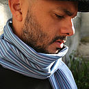 Man wearing Blue On Scarf