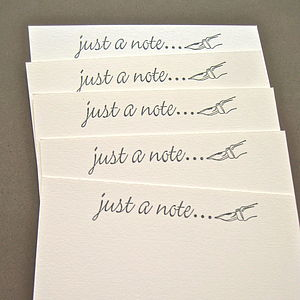 Set Of Five Handmade 'Just A Note' Notelets