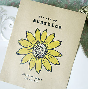 Set Of 10 Personalised Sunflower Seed Packet Favour - personalised