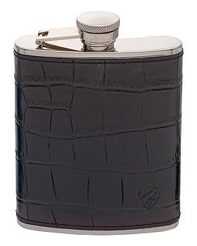 Black Croc Embossed Leather Hip Flask