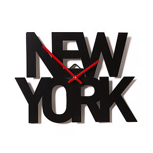 New York - Typographic City Clock - travel inspired