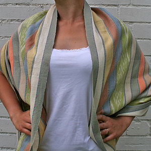Natural Dye Handwoven Cotton Ayanel Shawl - alfresco dining