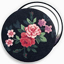 ' Navy Floral ' Compact Mirror