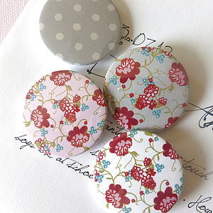 Vintage Floral Patterned Magnets Or Badges - kitchen