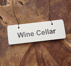 'Wine Cellar' Wooden Hanging Sign - art & decorations