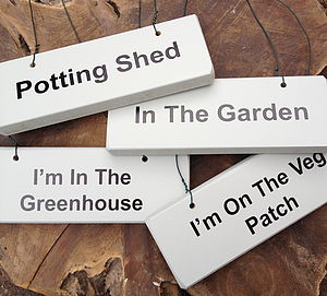 'Gardening' Various Wooden Hanging Signs - signs