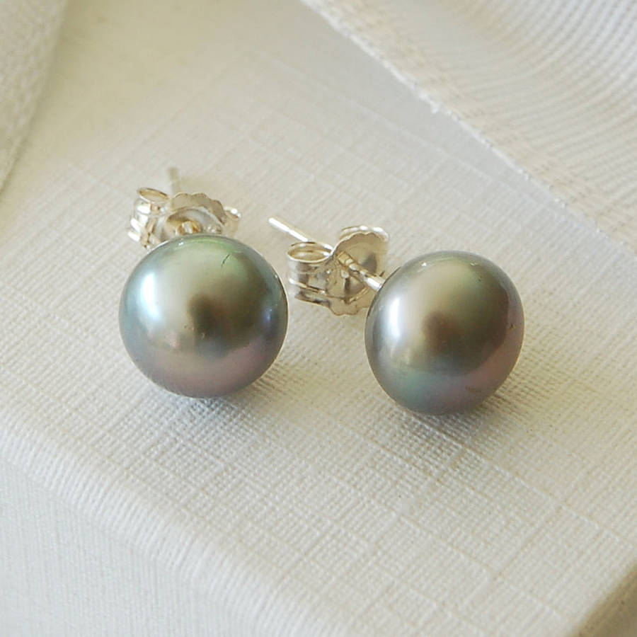 grey freshwater pearl earrings by highland angel ...