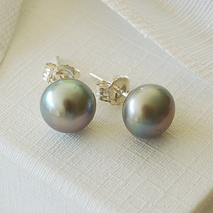 Grey Freshwater Pearl Earrings - june birthstone