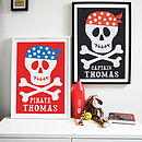 Personalised Skull And Crossbones Print