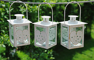 Set Of Three Hanging Metal Heart Lanterns - outdoor lights & lanterns