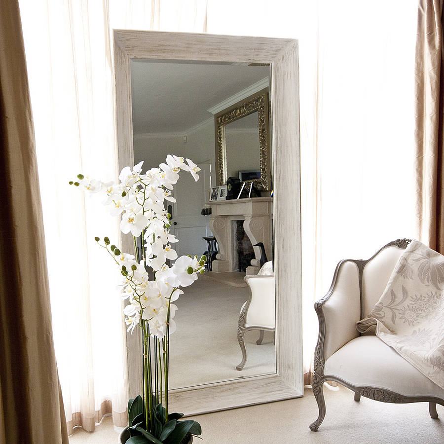 Deep framed white mirror by decorative mirrors online for Large white decorative mirror